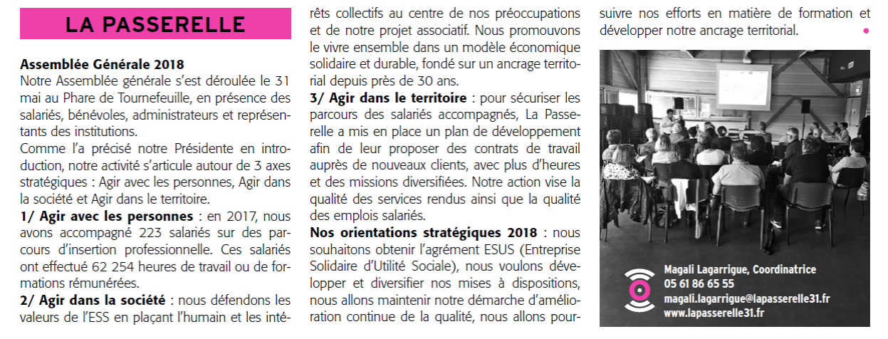 Article Echo de Tournefeuille septembre 2018