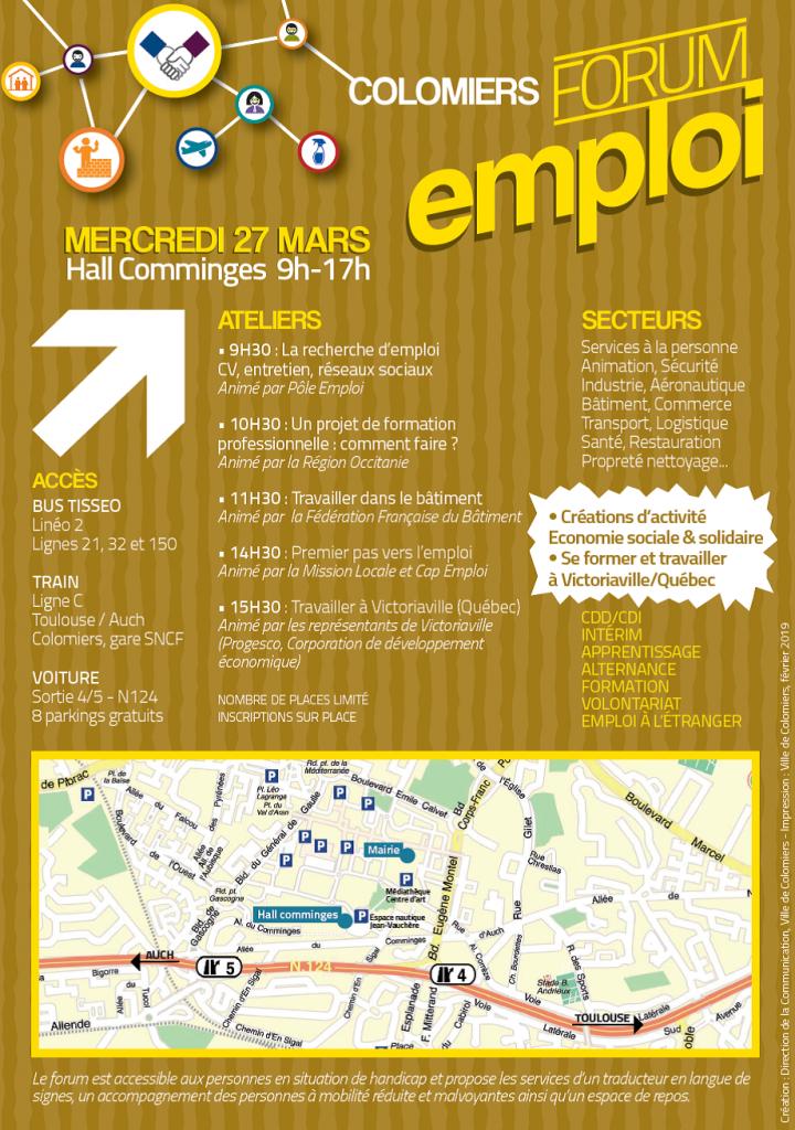 Affiche forum emploi colomiers verso