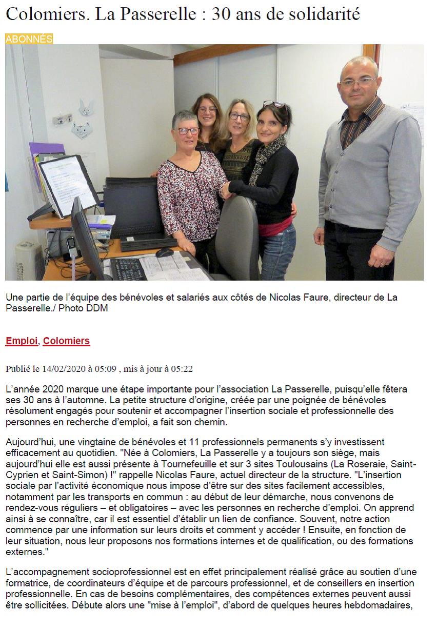 Page 1 Article La Dépêche 14 02 20